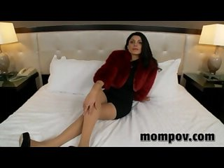 Sexy mature milf in red fur coat having porn for the first time