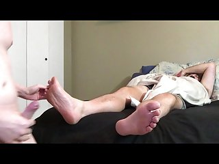 Son smells his step dads stinky toes cums hard