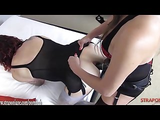 Femdom milf fucks hot tight crossdressers ass with big black strapon