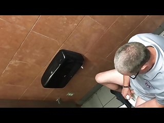 Caught Daddy Stroking In Restroom
