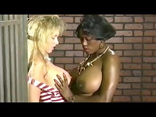 Titfight in jail chick squished by ebony