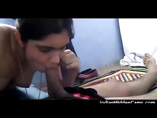 Desi newly married Bhabhi sucking husband cock fucked in Missionary style