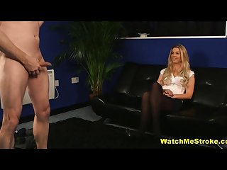 Shy milf watches guy wank during interview