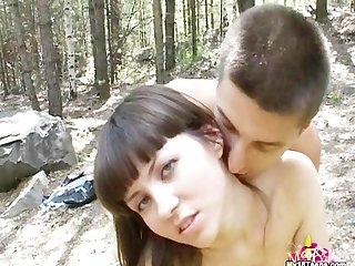 Teen couple outdoors