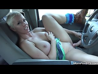 Big tit milf masturbates in car