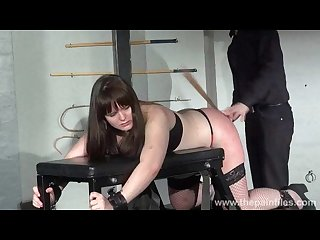 Lisas amateur spanking and rigid caning of chubby slaveslut strapped