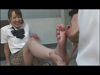 Japanese school girls foot worship