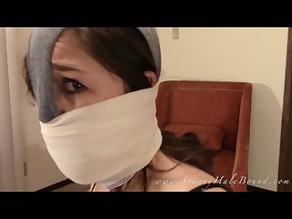Self gag and panty hood