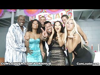 Asa akira goes wild with bridgette b emy retyes and misty stone