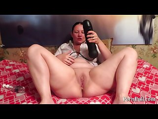Huge dildo in pussy mature