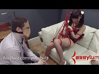 Tiny asian marica hase gets hard anal face fucking and enemas