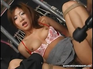 Sexy asian bound and tied to a chair and teased with multiple sex toys