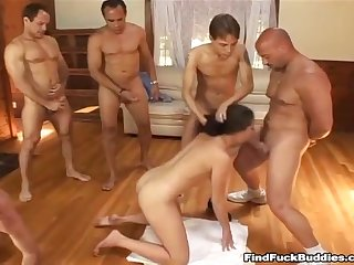 Crazy amateur brunette can t get enough cock in this gangbang