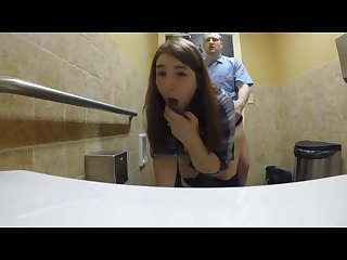 Tinder slut gets fucked in Restaurant public restroom