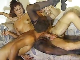Boy fucks horny man and mature woman