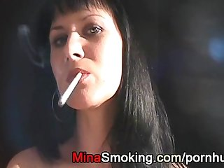 Smoking handjob by sexy strict housewife mina