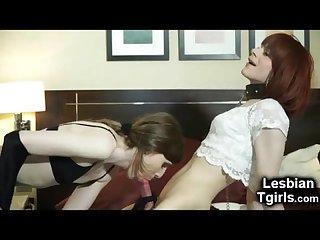 Kinky tgirl fucks her slave trap gf
