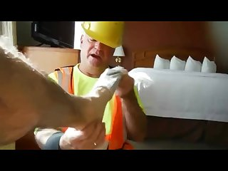 Construction daddy feet suck and fuck