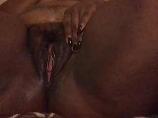Plus size ebony chocolate bbw pleasuring her hairy body bbw masturbating