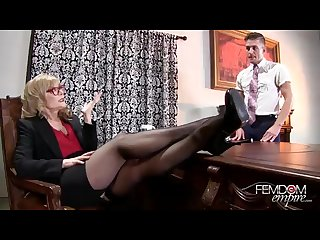 Very sexy milf boss dominate her personal with stinky nylon feet