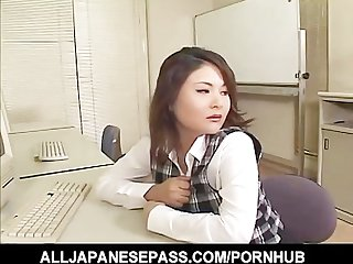 Horny office milf pulls out a sex toy from her drawer and toys