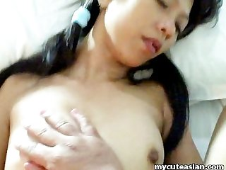 Pretty asian babe nailed by hard cock
