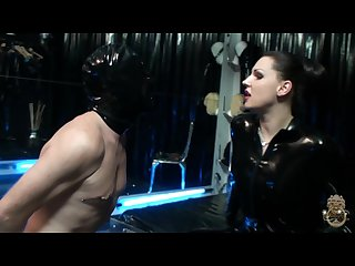Lady Diana disciplines new slave customer and rams dildo up his ass femdom