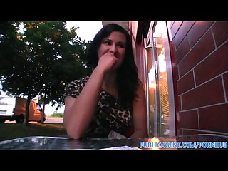Publicagent sexy brunette picked up from the Bus and fucked outdoors
