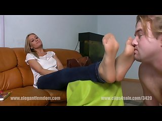 Smelling mistress feet