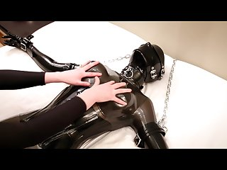 Savannah tickles tortures and chokes a Chained rubber girl