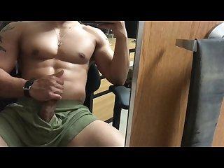Single hot athletic guy cock rub
