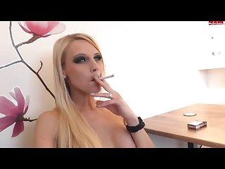 Sexy blond smoke