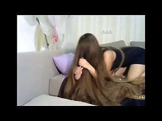 Fantastic long haired playing with hairbrush long hair hair