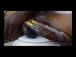 Uncut bbc stroking hand job in Restroom black solo male bbc