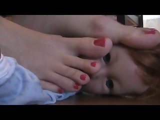 Baby doll trample with beautiful bare feet