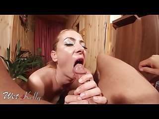 Very close up point of view blowjob with cum in mouth
