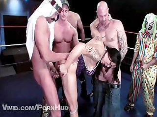 Chyna in a 9 wrestler gangbang queen of the ring parody