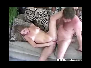 Tight milf riding his dick
