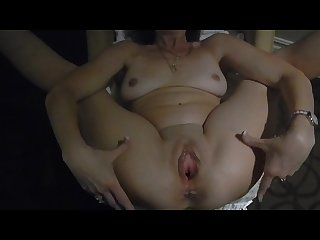 Wide open pussy with spread legs with slutwife trixie at hotel window