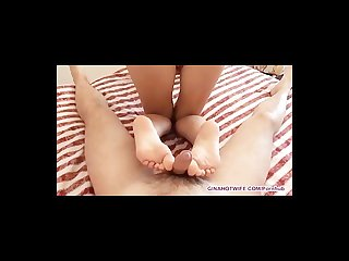 Hot amateur footjob and blowjob