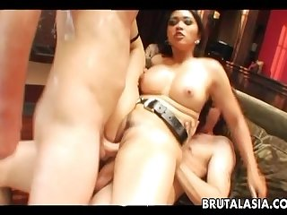 Super hot asian slut taking it double penetration