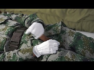 Soldier jacking off and cum on uniform
