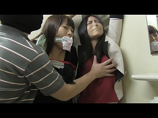 Japanese girls bound in bathroom