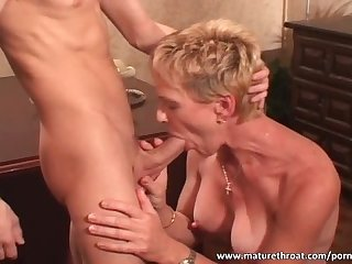 Short haired mature slut fucks her student
