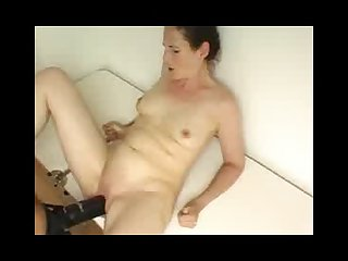 Creaming wife gets a big black strap on fuck