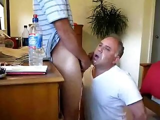 Younger guys face fucks older guy lots of cum