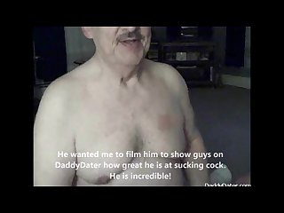 Cum lover daddybear grandpa with dentures drinks my cum and smiles