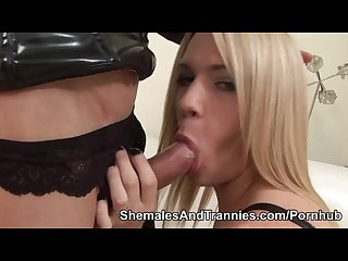 Blonde shemale is assfucked by a shemale