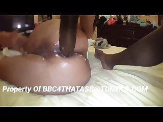 Stuffing her loose asshole with her huge dildo bbc4thatass