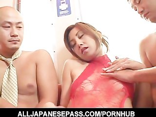 Nana nanami in a red bodysuit attacked by horny guys